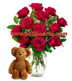 Valentines Rose - Long Stemmed Red Rose Bouquet with Bear