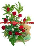 Red Rose and Brown Bear