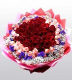 100pcs Red with pink Roses