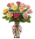 Multicolored Roses with Vase