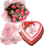 Flower stuffed toy Cake - Pink Selection