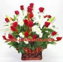 Red Rose and white lilly  In basket