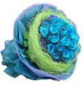 Bright Blue Rose Bouquet