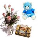 Pink Rose Blue/white Teddy and Chocolate