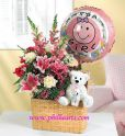 Baby Girl Gift Basket and Balloons