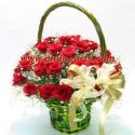 Soft Heart Red Rose Basket